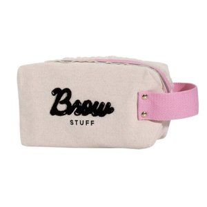 🌺 Benefit Brow Stuff Cosmetic Varsity Handle Bag